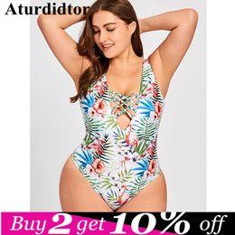 $enCountryForm.capitalKeyWord Australia - Plus Size Lace Up Leaf Floral One Piece Swimsuit Big Size Bodysuit Padded Elastic Sexy Large Size Swimwear Women Bathing Suit Y19072601