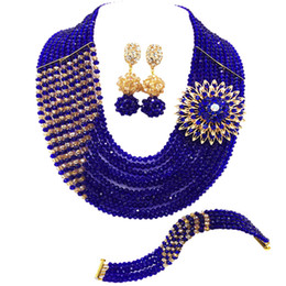 $enCountryForm.capitalKeyWord Australia - Royal Blue and Gold AB Fashion Jewelry Set Crystal Beaded Bridal Party Jewelry Sets Nigerian Wedding African Necklace 10JZ09