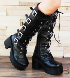 $enCountryForm.capitalKeyWord Australia - Women PU Leather Cosplay Punk Platform High Block Heel Knee High Boots Buckles Lace Up Chic Shoes X12