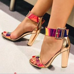 Super Blocks Australia - European and American high heel and large size block sandals with shiny sexy buckle strap Roman women's shoes