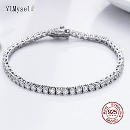 crystal 3mm UK - Classic 17.5 cm tennis bracelets Real 925 silver jewelry 2mm 3mm 4mm 5A Zironia Eternal wedding luxury sterling silver Bracelet CX200623
