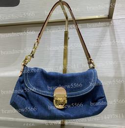 Soft Jeans Australia - Free Shipping Women's Fashion Jeans Shoulder Bag 44470 Top Grade Hardware Medium Hobos Bag 2019 Design Cowboy Flap Handbags 26cm