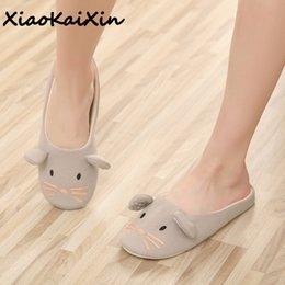 Flattest Mouse Australia - Free Shipping Cute Animal Embroidery Slippers Women's Cotton Four Seasons Little Mouse and Puppy Light Casual Slipper Wholesale