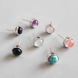 $enCountryForm.capitalKeyWord Australia - Authentic 925 sterling silver Crystal Stud Earrings For Women Black White Agate Turquoise Stud Earring Fine Jewelry Brinco Wedding Gifts