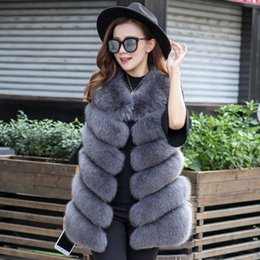 pink fox coat 2019 - 2018 Women Winter Faux Fur Vest Coat Warm Fluffy Shaggy Fox Fur Long Vest Coat Jacket Red Pink Black Overcoat Dress Top