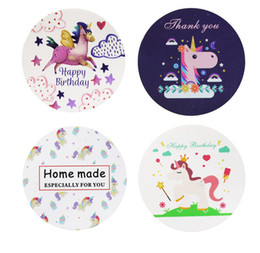 600pcs Unicorn Round Thank You Paper Seal Sticker Stationery Label Adhesive Gift Paper Sticker For DIY Scrapbooking Decoration on Sale