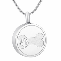 $enCountryForm.capitalKeyWord Australia - IJD9884 Round Shape Stainless Steel Memorial Urn Jewelry Etching Paw Print & Dog Bone Cremation Pendant Hold Pet Ashes Necklace