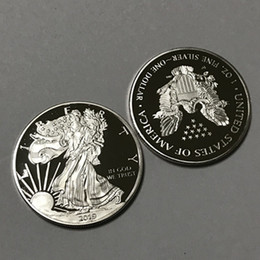 Metal Eagle Australia - 100 pcs Non magnetic freedom 2019 with upside down eagle brass core silver plated 40 mm badge souvenir decoraiton uncirculated metal coin