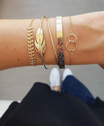 gold leaf cuff NZ - Fashion Ins Style Multi-Layer Gold And Silver Cuff Chian Bracelet with Leaves Bracelet for Women Girl Link Jewelry