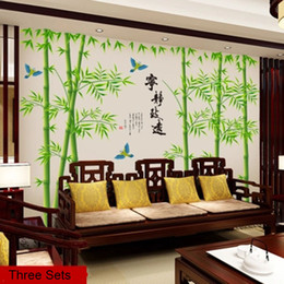 chinese sticker wall art Canada - Extra Large Chinese Style Bamboo Flying Birds Calligraphy Fair and Softly Go Far in a day Quote Wall Decals Home Decor Wall Art