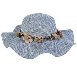 ab194ca02de KLV 2019 NEW FASHION HOT Women Big Wide Brim Straw Hat Colorful Flower Beach  Sun Foldable Cap Free ship  ZG4
