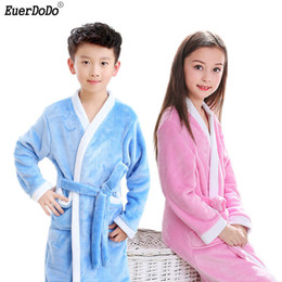 $enCountryForm.capitalKeyWord NZ - Kids Robes Winter Warm Robe For Boys Girls Child Bathrobe Fleece Bath Robe Children 4 6 8 10 12 Years Sleep Wear J190522