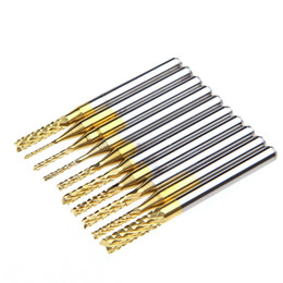 rotary drill bits UK - 2sets Lot _ 10Pcs 1 8'' 0.8-3.175mm PCB Drill Bit Set Engraving Cutter Rotary CNC End Mill -Y103