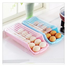 green box containers Australia - Kitchen Home Refrigerator Storage Plastic Drawer Type Egg Holder Box Container Dispenser Case More Safer To Store Eggs