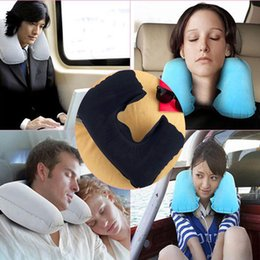 car head neck rest pillow 2019 - U Shaped Travel Pillow Inflatable Neck Car Head Rest Air Cushion for Travel Office Nap Head Rest Air Cushion Neck Pillow