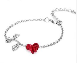 Wholesale Vintage Rose Flower Charms Bracelets Trendy Female Link Chain Bracelet Bangles Wedding Party Jewelry Bridesmaid Gift