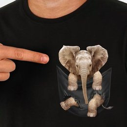 Wholesale Baby Elephant Inside Pocket T Shirt Black Cotton Men S XL US Supplier mens pride dark t shirt