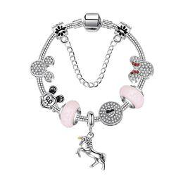 $enCountryForm.capitalKeyWord Australia - 2019 Charm Bracelet 925 Silver Women Unicorn Bracelets chain Bangle cuff Fashion Jewelry Gift Big hole bead Bracelet Valentine's Day gift