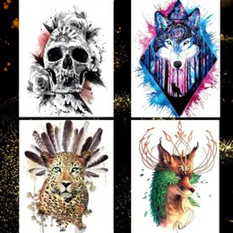 9be57bb18b032 1 PCS Large Waterproof Temporary Tattoo Stickers for Men Arm Body Art Wolf  Skull Fake Tattoo Women Flash Tattoos Henna 15.5*21cm