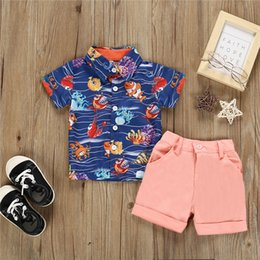 $enCountryForm.capitalKeyWord Australia - Boys kids clothes Outfits short sleeves Seabed Printed polo shirt Tops+Pink Shorts 2 pieces set kids designer clothes boys JY568