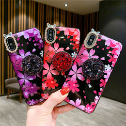 $enCountryForm.capitalKeyWord Australia - With Holder Cherry blossoms Rhinestone Crashproof Back Cover TPU Cell Phone Case PC Protective Covers For iPhone X XR XS MAX 6 6S 7 8 PLUS