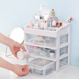 Green Box Containers Australia - Plastic Makeup Organizer Cosmetic Drawer Makeup Storage Box Container Nail Casket Holder Desktop Sundry Storage Case Bead