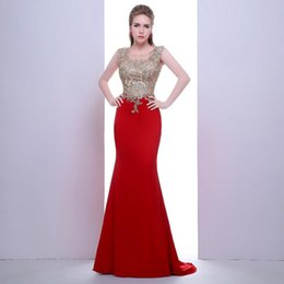 Wholesale images love online – design 2020 New noble robes dubai collar decals sexy red chiffon mermaid dress transparent back women love beautiful dress Evening Gown
