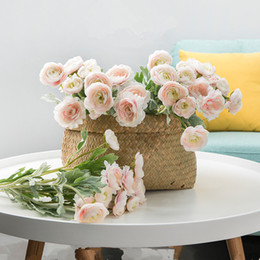 $enCountryForm.capitalKeyWord Australia - 2018 Beautiful Artificial England Ranunculus Asiaticus Rose Flowers Silk Flores For Home Table Decoration 3 Heads Fake Flower