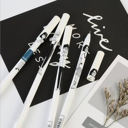 Navy Gel NZ - Mu Yi black pattern personality character gel pen exam special pen creative culture office supplies carbon black pen