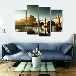 Unframed Art Prints Australia - 4pcs set Unframed Castel Sant'Angelo and Tiber River HD Print On Canvas Wall Art Picture For Home and Living Room Decor