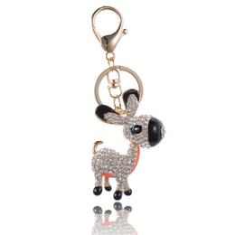 $enCountryForm.capitalKeyWord Australia - Cute Donkey Drip Alloy Keychain Chaveiro Drop Oil Glaze Little Rhinestone Crystal Beads Stainless Key Ring for Girl Gifts