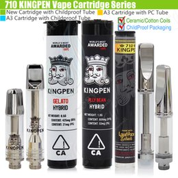 Top sTickers online shopping - Top KINGPEN Vape Cartridges Glass King Pen Dab Wax Ceramic Cotton Coils Childproof Tube Packaging CA A3 KP Flavor Stickers Vaporizer