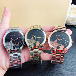 michael glasses UK - Fashion M crystal design Brand Watches women Girl MICHAEL Star style Metal steel band Quartz Wrist Watch M54