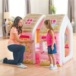 $enCountryForm.capitalKeyWord Australia - Cartoon princess play inflatable house Inflated Lodge Baby Marine ball pool with armchair table inflating cottage tent