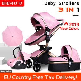Car two babies online shopping - Free ship babyfond in baby stroller PU two way absorbers baby car cart trolley Europe with free gift umbrella