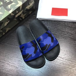 $enCountryForm.capitalKeyWord Australia - Men's Camouflage blue genuine soft leather rubber sole Summer Sandals Home Slippers High-end Designer Brand Beach Shoes