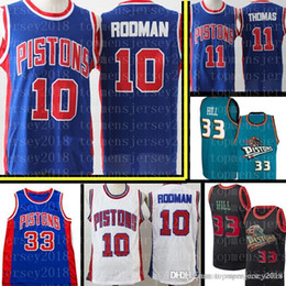 790d281e7 Retro Mesh Dennis 10 Rodman Jersey 11 Isiah Mens Thomas Detroit Hill  Pistons 33 Grant Hill Basketball Jerseys