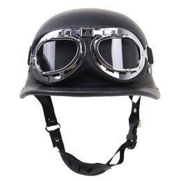 $enCountryForm.capitalKeyWord Australia - High Quality Vintage Motorcycle Motorbike Scooter Half Leather Helmet With Free Goggles