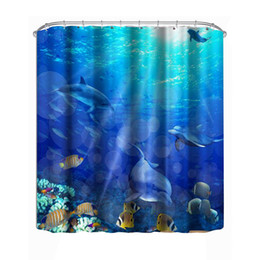 colorful cartoon fish NZ - 1.8 M Modern Waterproof shower 3D Colorful Shower Curtain Bathroom Curtain fish curtains Bath Decor Shower Curtains