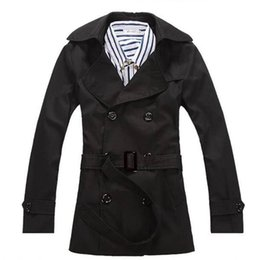 Wholesale european fashion trench coats for sale - Group buy Men Trench Windbreaker Double breasted European Style Slim Solid Fashion Trench Coats Hombre Overcoat Jackets Masculino