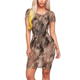 8a870454357e8 2019 Vestidos Women Clothes Lady Sexy Mesh Camouflage personality  Perspective Short Sleeve Party Club Mini Dress #2