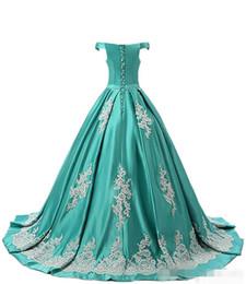 Elegante Hunter Green al largo della spalla Abiti Quinceanera Applique Sweep Train Lace Up Torna Custom Made Sweet 16 Ball Gown in Offerta