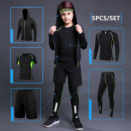 $enCountryForm.capitalKeyWord NZ - Kids Sports Running Set 2019 Men Sport Suit Jogging Basketball Underwear Sportswear Gym Tights Soccer Tracksuit Training Clothes