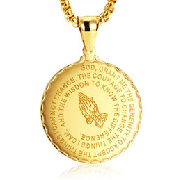 Steel Gold 18k Australia - 2019 Men Jewelry Praying Hands And Bible Verse Pendant Necklace With Wheat Chain For Men 18K Gold Plated Stainless Steel