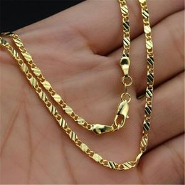 Boy Anniversary Gifts NZ - 1Pc Flat Metal Chain Clavicle Pendant Necklace Fashion Gold Flat Chain Fine Ornament Gift for Girl Female Man Male Boy
