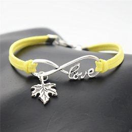 Tree infiniTy love braceleT online shopping - New Fashion Metal Infinity Love Plant Tree Leaves Maple Leaf Famous Brand Jewelry Mixed Charm Yellow Leather Rope Bracelet Bangles Product