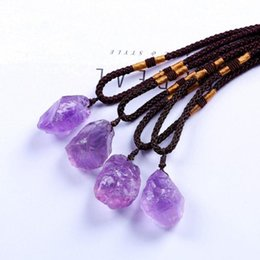 pink quartz rose pendant Australia - 10 Pcs Handmade Weave Irregular Shape Amethysts Stone Pendant Rope Chain Necklace Rose Pink Quartz Jewelry