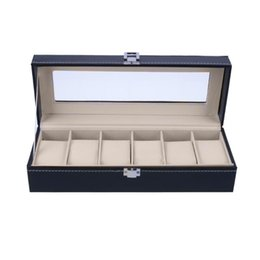 Chinese  6 Slots Wrist Watch Case Box Jewelry Storage Box with Cover Case Jewelry Showcase Watches Display Holder Organizer manufacturers