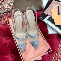 Discount transparent wedding dresses sequin - Classic transparent High Heels Pumps, Women Dressing Sandals with sequins for Party, Wedding and Daily Use.