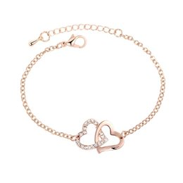 Crystal Clay online shopping - Rose Gold Bracelet Women Hearts Chain Simple Jewelry Bangle Artificial Crystal For Wedding Favour Hot Sale lz UU